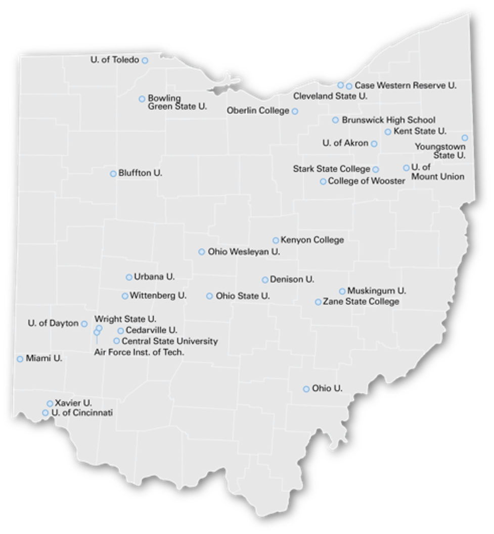 Map of Ohio academic institutions using OSC