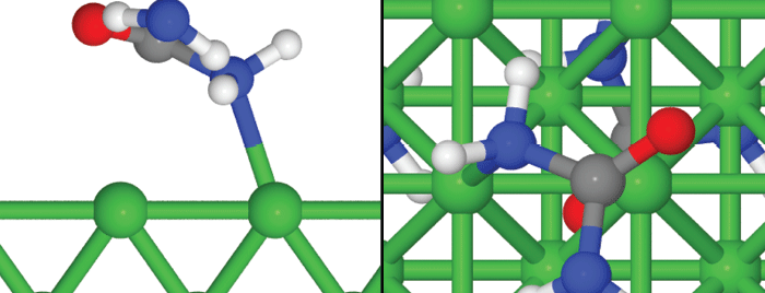 Simulation of a possible unit cell of monodentate urea adsorption on Ni(1 0 0)