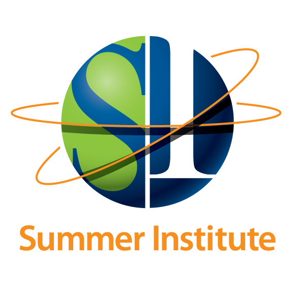 "Summer Institute Logo, Letters ""S"" and ""I"" in a sphere with 2 orbital lines around it."