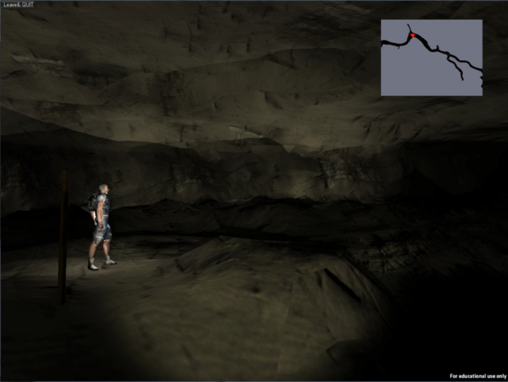 Figure 1: View from interactive session within the cave. Inset is gods-eye view of the historical route of Mammoth Cave with user's location indicated in red.